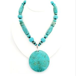 Turquoise type 18 karat gold plated necklace